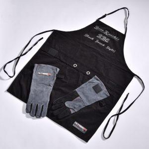 Bollenglut Grillschürze mit praktischen Handschuhen, die per Klett an der Schürze halten